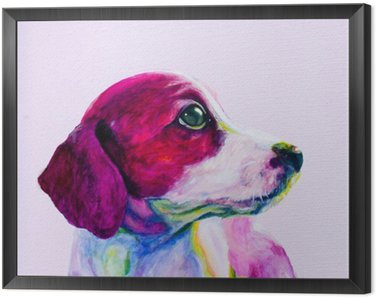 Buddy Portrait of a young dog, puppy in neon colours. Looking and yearning for attention Framed Canvas