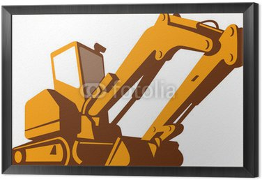 Framed Canvas Bulldozer Front Retro