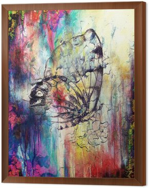 Butterfly with flower. Original hand draw. Computer collage and Abstract background.