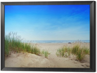 Framed Canvas Calm beach with dunes and green grass. Tranquil ocean