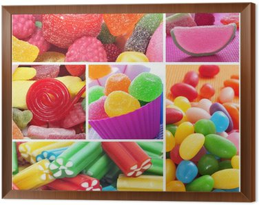 Framed Canvas candies collage