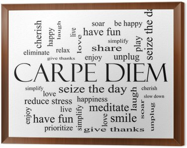 Carpe Diem Word Cloud Concept in black and white