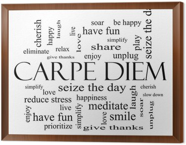 Framed Canvas Carpe Diem Word Cloud Concept in black and white