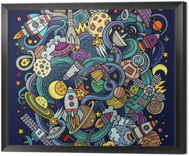 Framed Canvas Cartoon hand-drawn doodles Space illustration
