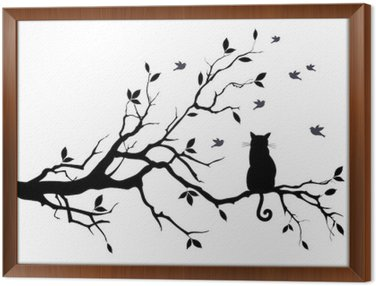 cat on a tree with birds, vector Framed Canvas