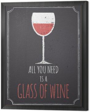 Framed Canvas Chalkboard Red Wine Design