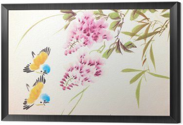 Chinese ink painting bird and plant Framed Canvas