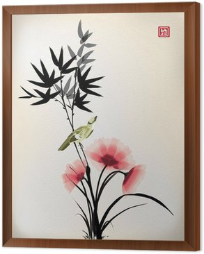 Framed Canvas Chinese ink style flower bird drawing