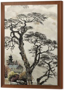 Framed Canvas Chinese landscape with a tree