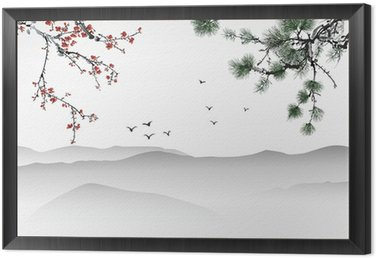 Framed Canvas Chinese painting