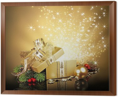 Christmas surprise gift box exploding with glitters and stars christmas surprise gift box exploding with glitters and stars framed canvas negle Choice Image