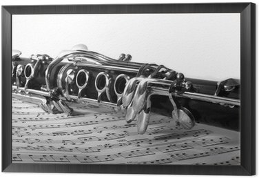 Framed Canvas Clarinet on sheet music