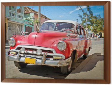 Framed Canvas Classic Chevrolet in Trinidad, Cuba