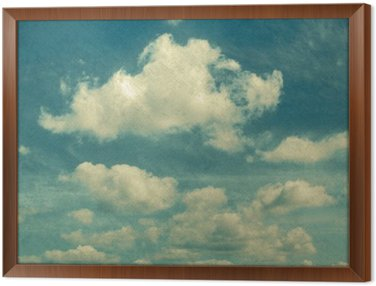 Framed Canvas clouds in vintage style. sky with clouds Stylized under the old photographs.
