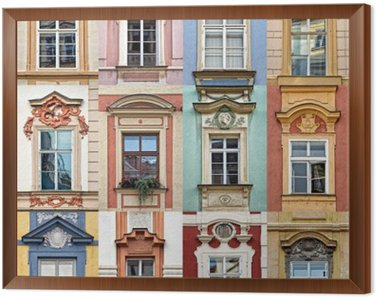 Framed Canvas Collage of colorful windows of Prague, Czech Republic
