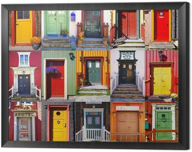 Framed Canvas Collage of doors in Røros. Norway