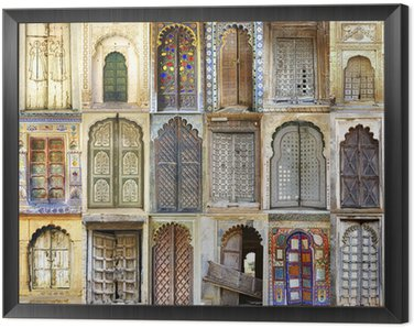 Framed Canvas Collage of the ancient Indian doors