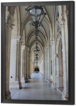 Colonnade in Vienna City Hall, Austria Framed Canvas