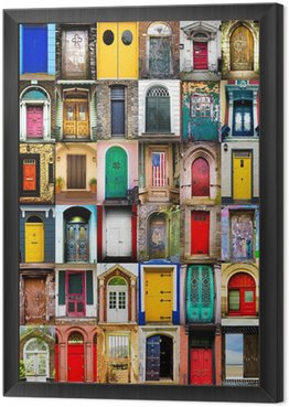 Framed Canvas Colorful collage of variety of doors