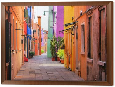 Framed Canvas Colorful street in Burano, near Venice, Italy