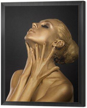 Coloring. Gilt. Golden Woman's Face. Art concept. Gilded Body