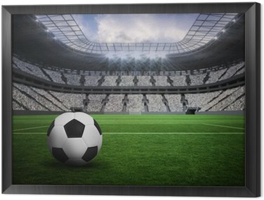 Composite image of black and white leather football