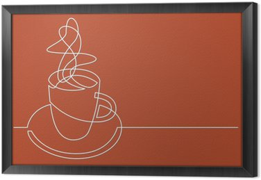 continuous line drawing of cup of coffee Framed Canvas