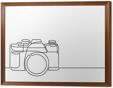 continuous line drawing of retro photo camera Framed Canvas