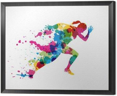 Framed Canvas course à pied,graphisme