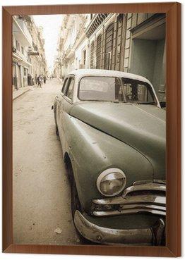 Framed Canvas Cuban antique car