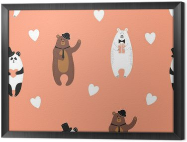 Cute bears pattern. Seamless romantic background with polar bear, brown bear and panda. Framed Canvas