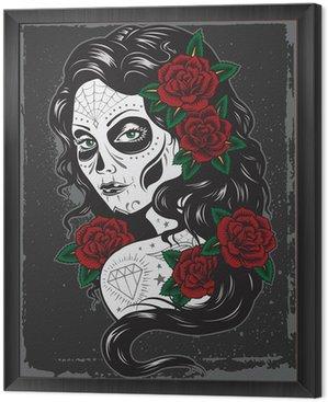 Framed Canvas Day of dead girl tattoo illustration