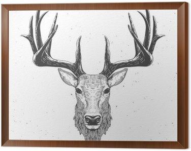 Framed Canvas deer head on white