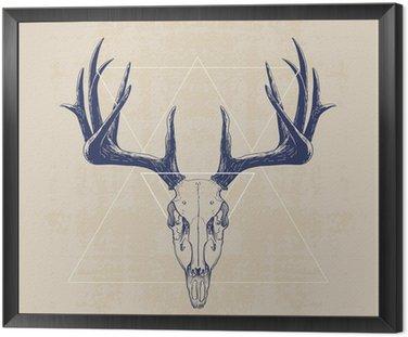 Framed Canvas deer skull