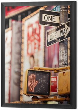 Framed Canvas Don't walk New York traffic sign