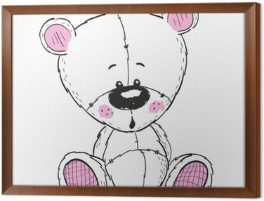 Framed Canvas Drawing Teddy