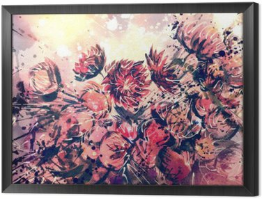 Framed Canvas Drawing, watercolor bouquet of Straw flower