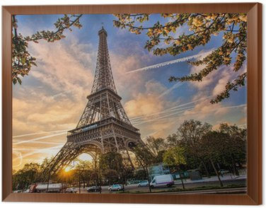 Framed Canvas Eiffel Tower against sunrise in Paris, France