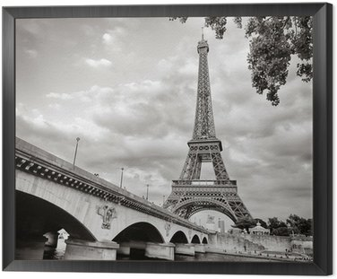 Framed Canvas Eiffel tower view from Seine river square format