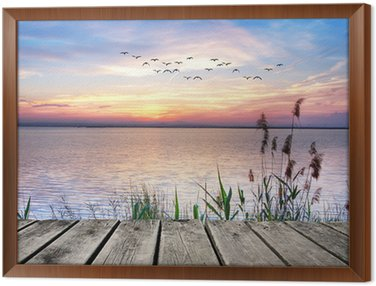 Framed Canvas el lago de las nubes de colores