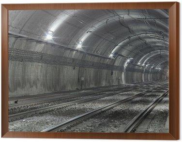 Framed Canvas Empty Subway Tunnel