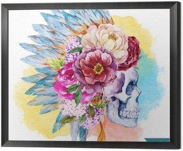 Framed Canvas Ethnic skull