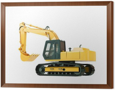 Framed Canvas Excavator isolated