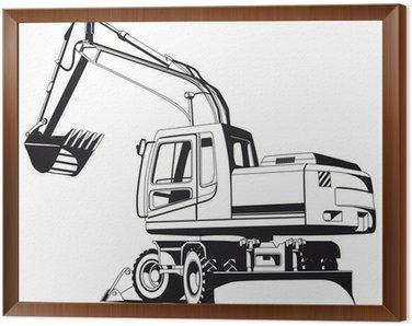 Framed Canvas Excavator outline