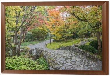 fall foliage stone bridge japanese garden framed canvas - Japanese Garden Stone Bridge