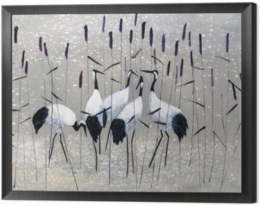 Framed Canvas family of cranes