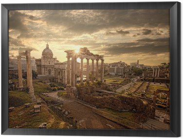 Famous Roman ruins in Rome, Capital city of Italy Framed Canvas