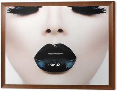 Framed Canvas Fashion Beauty Model Girl with Black Make up and Long Lushes