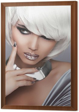 Fashion Blond Girl. Beauty Portrait Woman. White Short Hair. Sex Framed Canvas