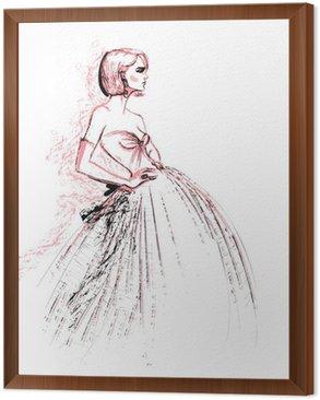 Framed Canvas Fashion model wearing evening dress